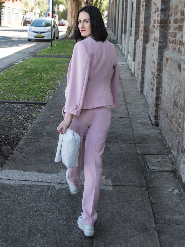 Pink Suit Available Online Soon www.marcs.com.au, White T-Shirt, ACNE STUDIOS Sneakers, White Clutch