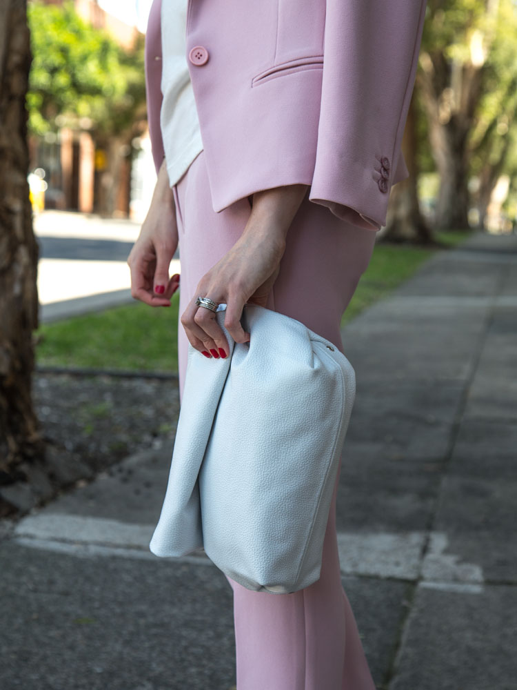 Pink Suit Available Online Soon www.marcs.com.au, White T-Shirt, White Clutch