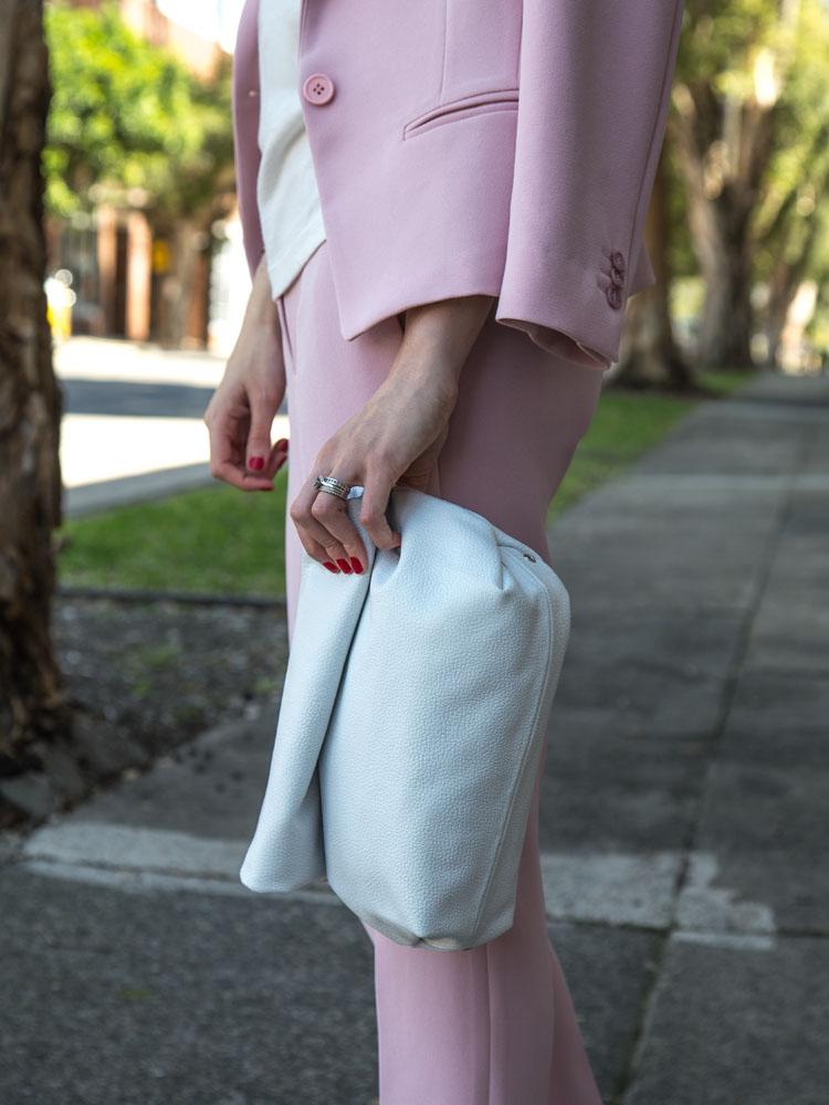 Pink Suit Available Online Soon www.marcs.com.au, White T-Shirt, White Clutch