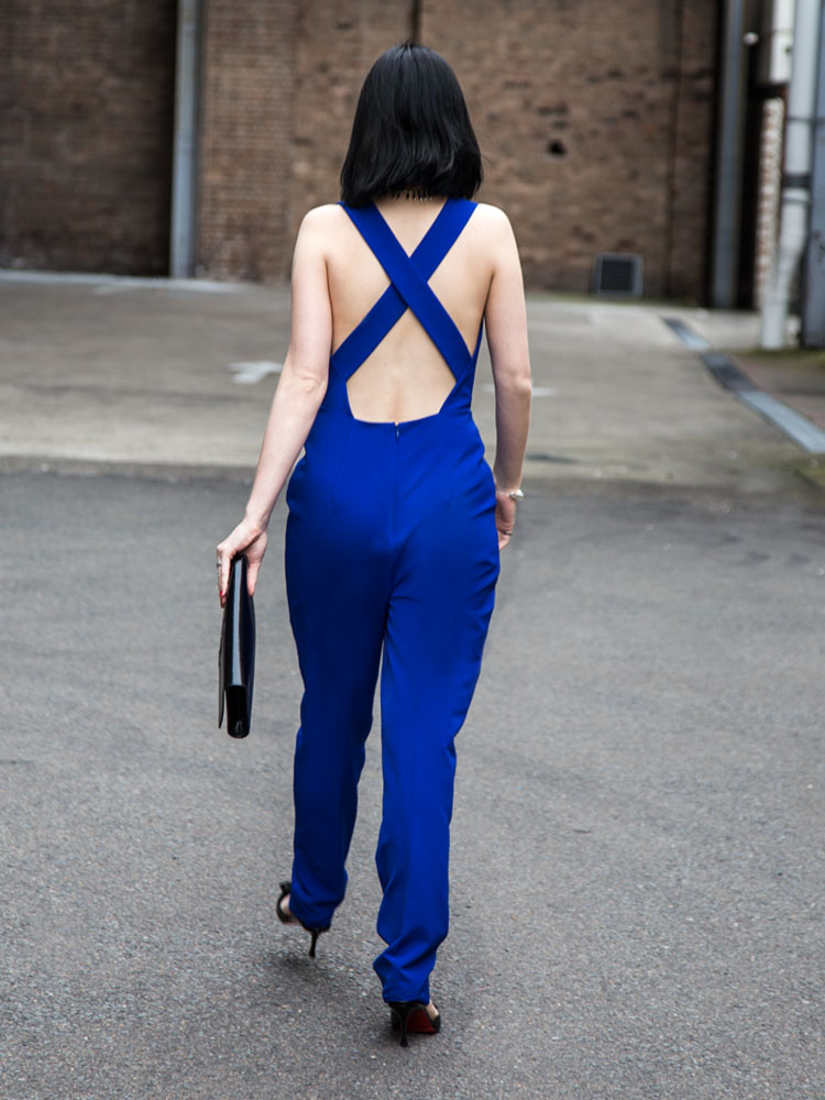 Fame & Partners Jumpsuit, Yves Saint Laurent Clutch, Louboutin Heels