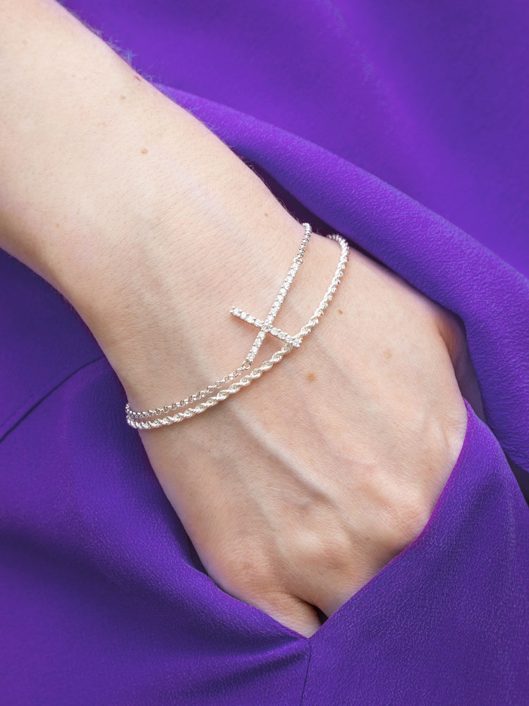 Michael Hill Cross Bracelet, $89AUD and Rope Anklet worn as a Bracelet, $29AUD
