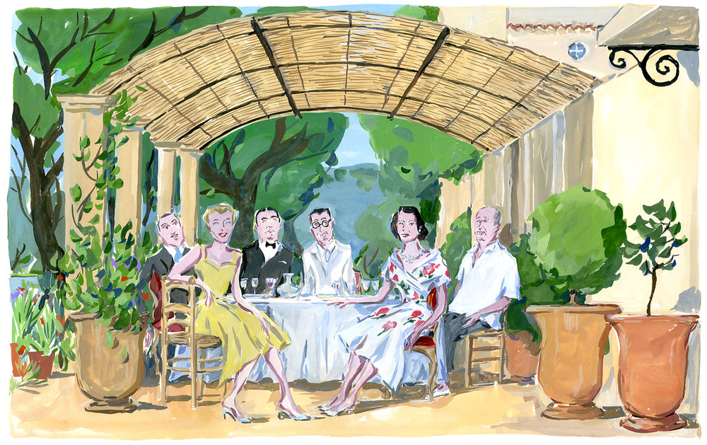 Lunch under the pergola at  La Colle Noire. Christian Dior in the South, published by Rizzoli NY.