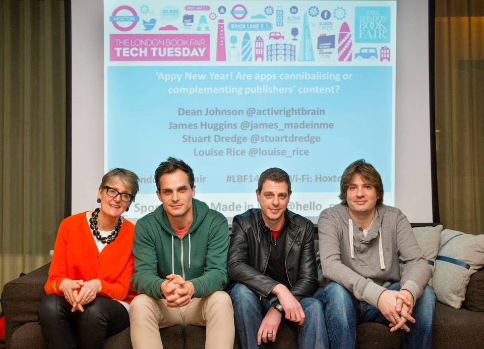 From Left - Louise Rice (Touchpress), James Huggins (Made in Me), Dean Johnson (Brandwidth), Stuart Dredge (Apps Playground / Guardian)