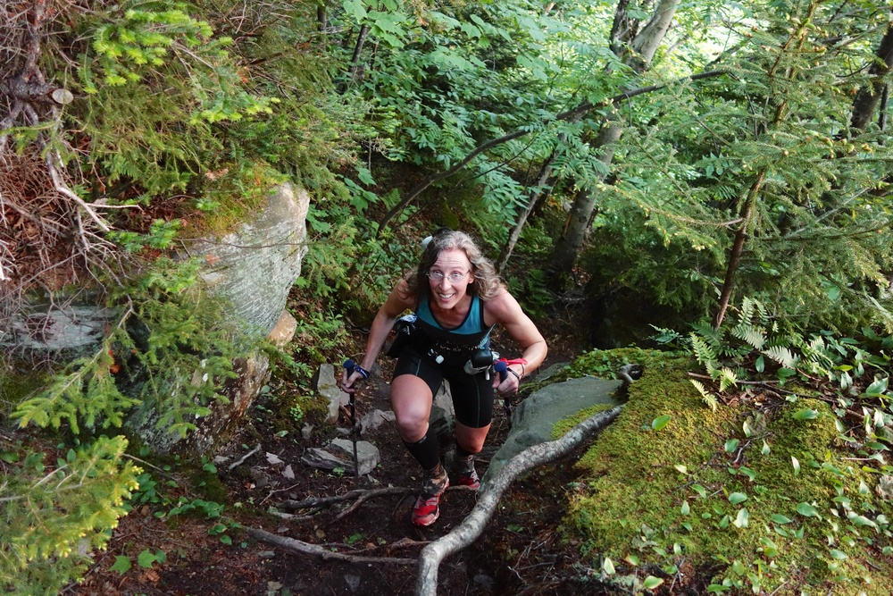 2nd place female, Sheryl Wheeler climbing Black Head Mountain.