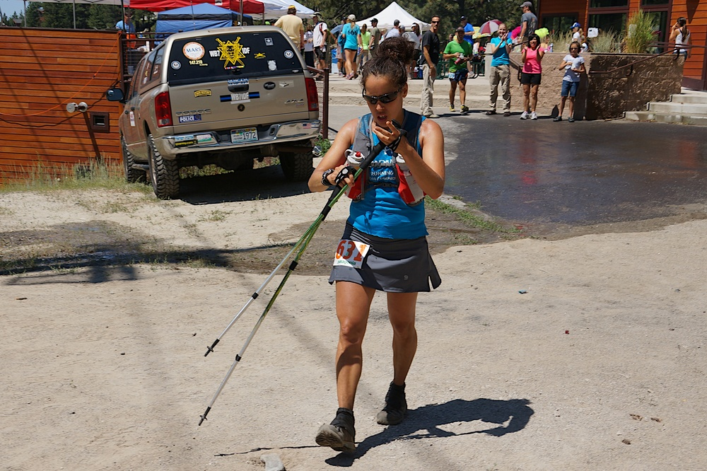 Elizabeth leaving Diamond Peak Aid Station, mile 30.3. Next AS is 5 miles with a bit of climbing to Tunnel Creek