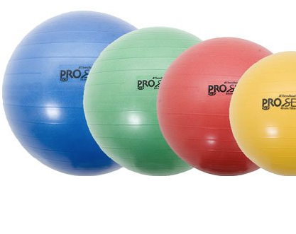 Thera-Band Pro Series SCP Stability Balls - You can purchase either a 55, 65 or 75cm stability ball and it depends on your height as to which one would be best. You can purchase all three  for greater diversity and challenge. These are reliable, hold up well over time and keep their shape.