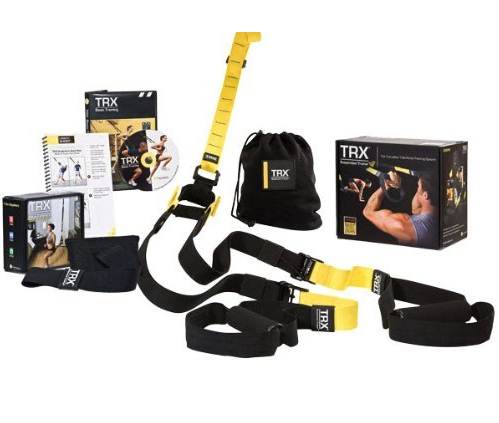 TRX Suspension Trainer - TRX Suspension Training is a highly portable performance training tool that leverages gravity and the user's bodyweight to enable hundreds of exercises that can be instantly scaled for any user to reach any fitness or training goal. This is very easily adjustable and can hang from just about anything. It also packs up nicely so it is very easy to travel with. Purchase the TRX Mount to safely attach your TRX to a ceiling beam, click here.