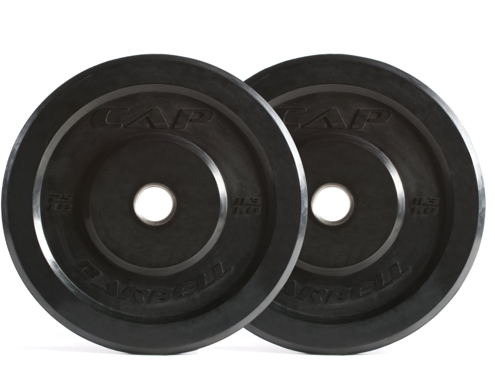 Cap Barbell Bumper Plates  -  Available on Amazon. These will do the job and for a good price. Will hold up well over time.  They come in pairs so its best to purchase the 20 lb, 50lb, & 90lb set to start with.