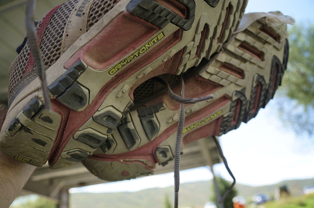The soles of Harry's shoes after the 2013 Wasatch 100. They had a few miles on them before the race...