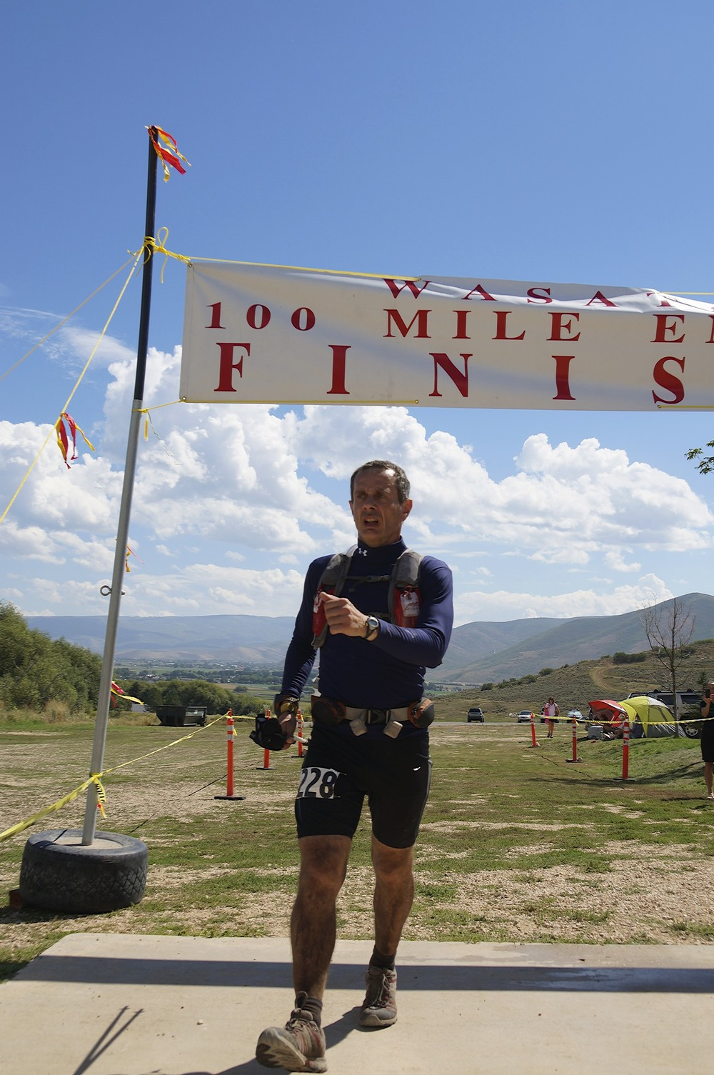 Harry finishing the 2013 Wasatch 100 in the Masochist!