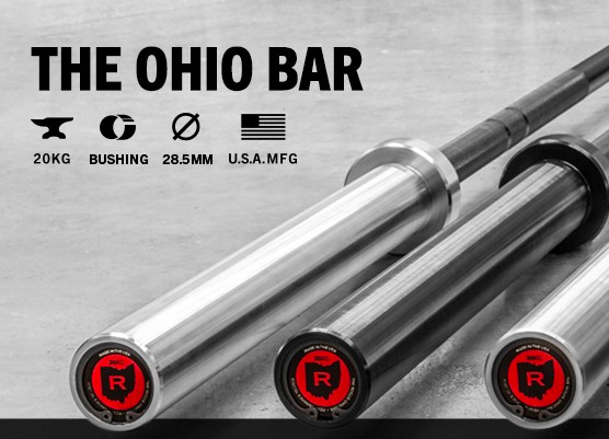 Rogue Fitness Ohio Bar  - 20kg, 28.5 mm, made in the USA. Each Rogue Ohio Bar is machined and assembled in Columbus, Ohio, and includes a lifetime guarantee against bending. The bushing sleeves on the Ohio Bar promise a reliable spin, and their snap ring design maintains optimal stability throughout any type of weightlifting regimen-- from basic high school or collegiate strength training programs to intense Crossfit workouts.