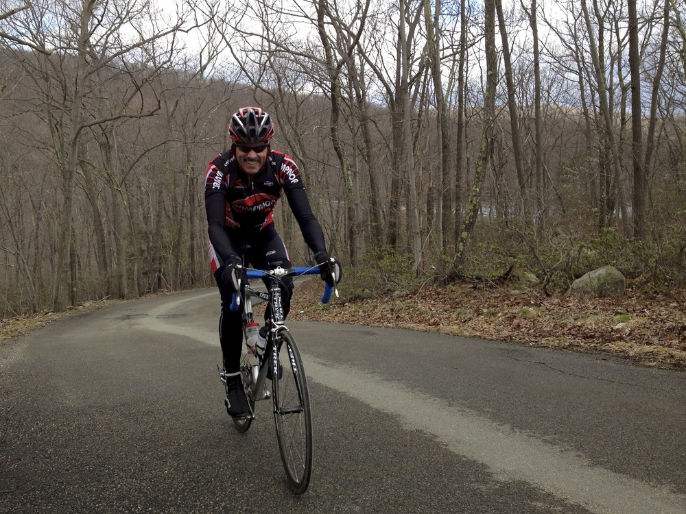 MPF Client Willy working hard in the late winter for the upcoming cycling season.