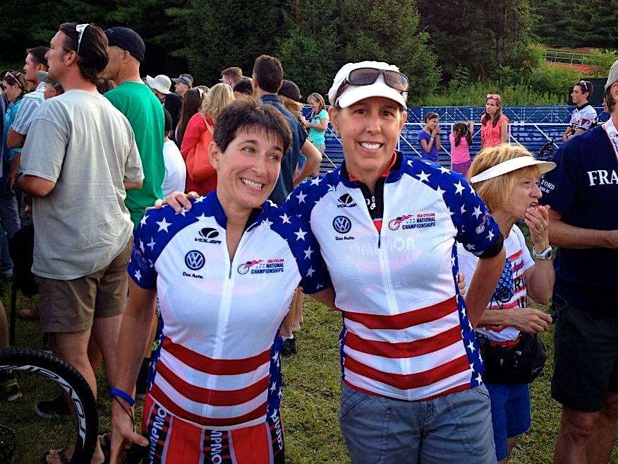 MPF Client Marianne & her Campmor Teammate Ellen Whitewiththeir 2014 XC Mountain Bike National Championship Jersey's on after their big wins in PA!