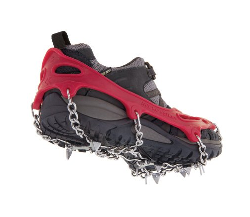 Kahtoola Microspikes  - These are essential for winter travel, especially when conditions are icy. We rely on this for most of our winter trail runs and hikes. This traction system allows anyone, of any age, to get out and safely enjoy winter. These slip-on spikes dig into all types of terrain — ice, packed snow, wet rocks, concrete, and scree. Extremely durable, they attach securely to your footwear and require no special buckles or straps.