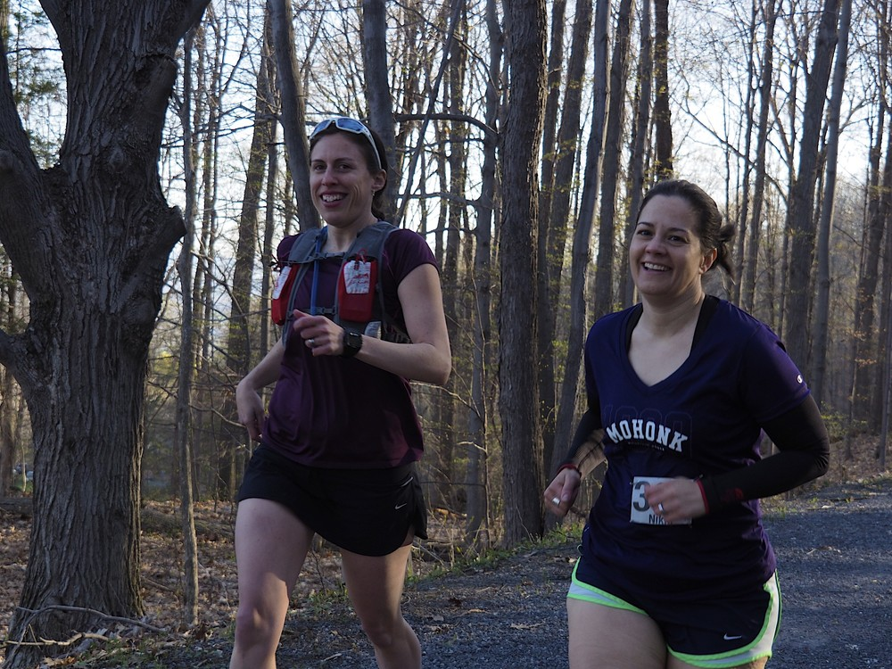Steph enjoying the miles with her friend Nikki.