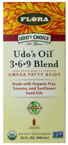 Do's Oil 3-6-9 Blend  - Every cell, tissue, gland and organ is dependent upon the presence of Essential Fatty Acids or EFAs. Your body needs these foundational fats, but cannot make them on its own. They must be obtained through dietary sources. Unfortunately, the modern Western diet is often quite deficient in omega-3 EFAs.  EFAs manufacture and repair cell membranes, enabling the cells to properly assimilate nutrients from our foods and efficiently expel toxins and waste products. A deficiency, or even an imbalance, of EFAs can be linked to a decline in the optimal functioning of the body's natural processes.  Udo's Oil™ 3·6·9 Blend supplies omega-3 and omega-6 EFAs in a 2:1 ratio. It is a special formulation of natural, unrefined oils from fresh, certified organic flax, sunflower, sesame and evening primrose seeds as well as oils from coconut, rice and bran.
