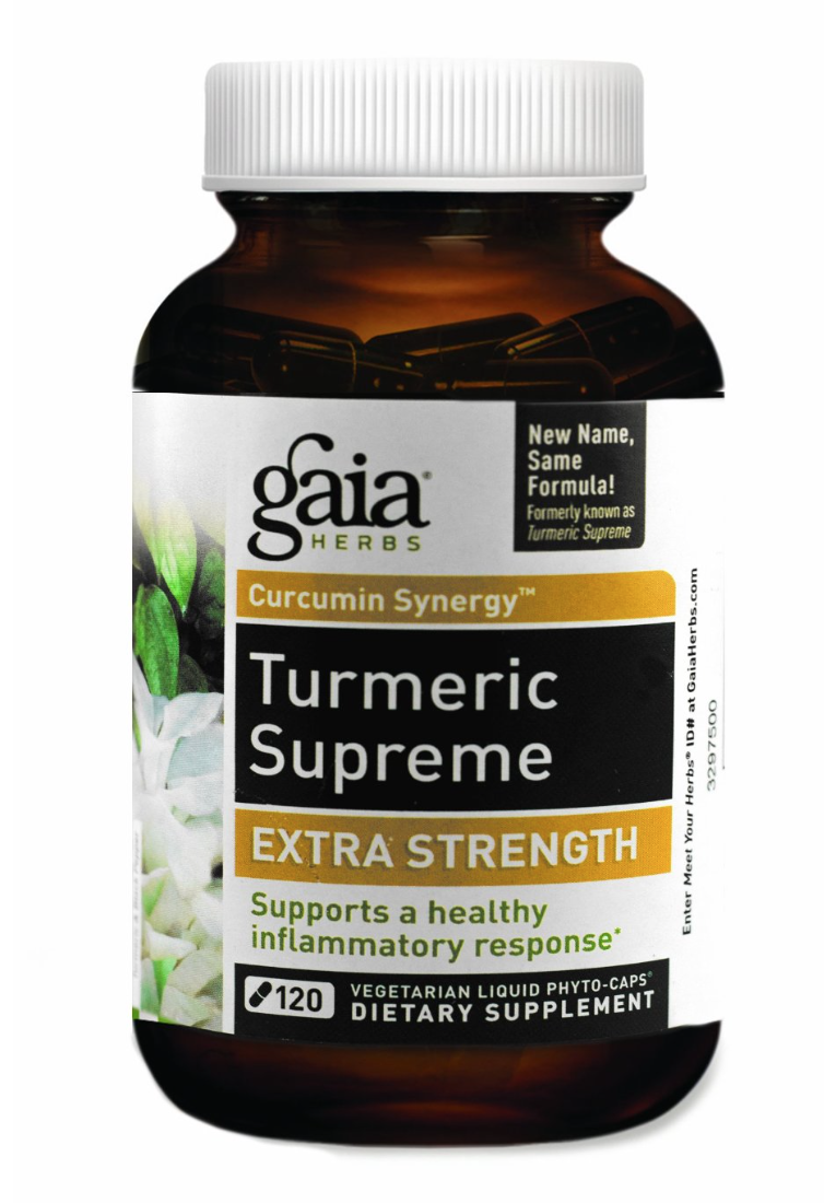 Gaia Herbs Turmeric Supreme  -  For centuries, Turmeric root has been used in Ayurveda, India's traditional medicine system. Valued for its ability to support healthy inflammatory response, Turmeric can play a crucial role in maintaining health and longevity. * The Curcumin Synergy of the Turmeric Supreme line naturally supports healthy inflammation response and s upports the heart, joints and liver function.