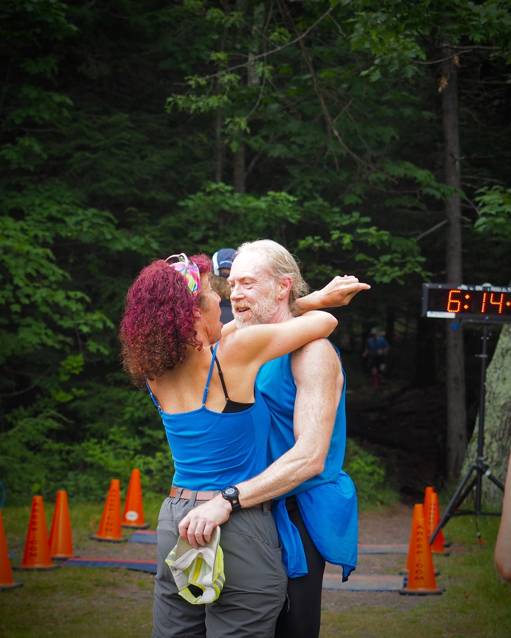 Greeting Jim at the end of his 2015 Escarpment Trail Run