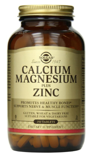 Solgar Calcium, Magnesium & Zinc  - Calcium provides the building blocks that help keep bones and teeth strong and healthy. Magnesium helps to regulate calcium transport and stimulates the secretion of calcitonin, a hormone that aids in the influx of calcium into bone. Plays an important role in protein formation and healthy muscle function. Contains zinc, a trace mineral that plays a role in the synthesis of collagen in bone tissue.