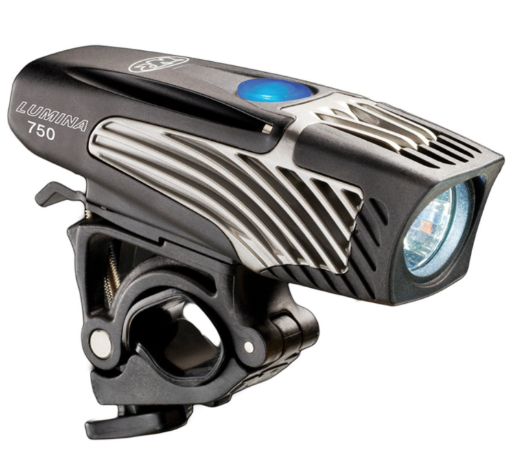 NiteRider Lumina 750 Light - Rechargeable,  Run Time: 1.5 hours on High (750 lumens), 3 hours on Medium (350 lumens), 5.5 hours on Low (200 lumens) and 18 hours on Walk (40 lumens).
