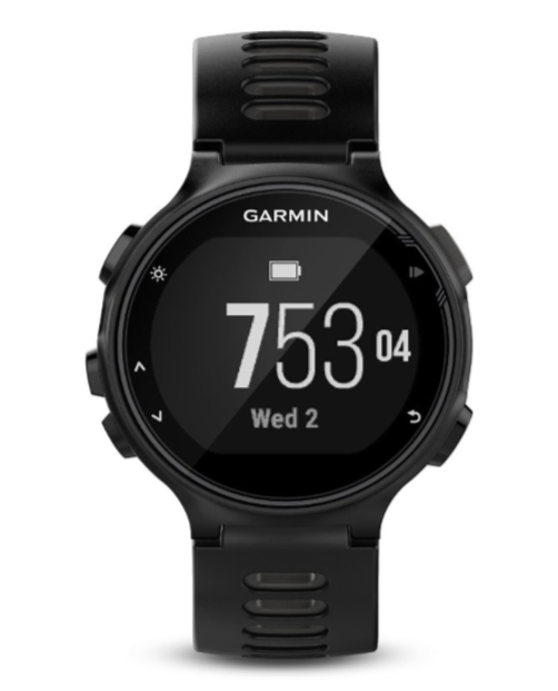 Garmin Forerunner 735XT  - This GPS running watch with multisport features is for athletes who want dialed-in data for training and a lighter load on race day. A smaller form factor and comfortable band make 735XT the ideal watch to get you from workout through workday. Measures heart rate at the wrist¹ so you can run freer on race day. Provides advanced dynamics² for running, cycling and swimming, including ground contact time balance, stride length, vertical ratio and more. Offers VO2 max estimate, lactate threshold³, race predictor and recovery advisor. Connected features4: smart notifications, automatic uploads to Garmin Connect™, live tracking and more.  Buy on AMAZON $449