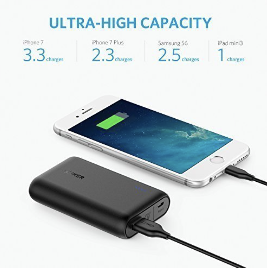 Anker 10,000mAH Portable External Battery  - High Capacity: Charges the iPhone 6s almost four times, the Galaxy S6 more than twice or the iPad Air almost once. Cost $35.