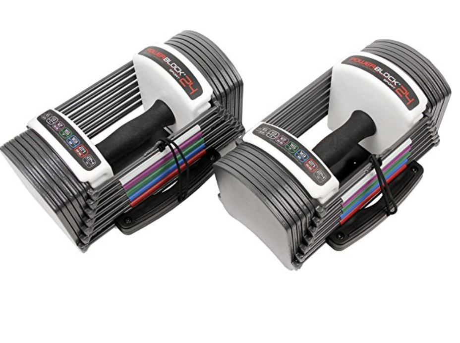 Power Block Adjustable Dumbbells 3-24lbs - A compact dumbbell set saves space in your room yet offers maximum potential. This 24-pound dumbbell set sports a weight range from 3-24 pounds per hand in 3-pound increments. This replaces 8 pairs of dumbbells.