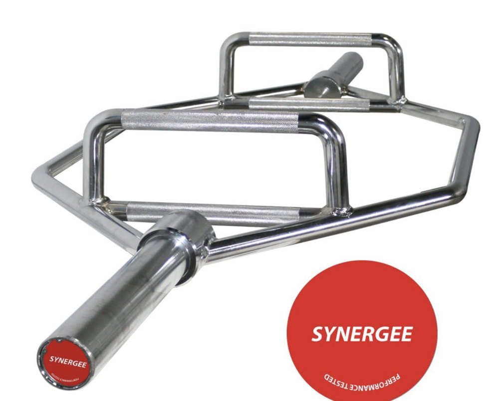 Trap Bar is ideal for a variety of exercises, including deadlifts and farmers carries. This bar from Synergee is very reasonably priced and does the job. If you would like to purchase a top of the line model, check out the  Rogue Fitness Trap Bar, click here.