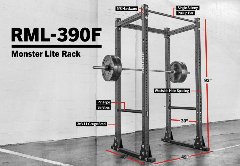The Rogue Monster Lite Flat Foot Rack  is a great rack for your home gym. This is a self standing rack and doesn't not need to be bolted to the floor.
