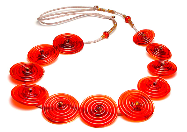 Red Boro Zinger Spiral Necklace - $250
