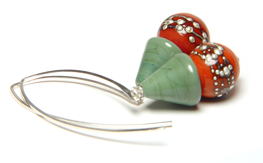 JillSymons.com Lampwork Tiled Silver Earrings - $50