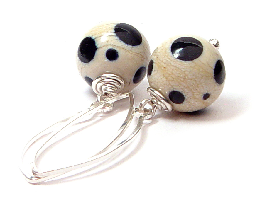 JillSymons.com Lampwork Fall Neutral Earrings - $50