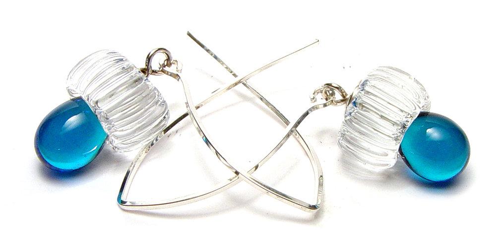 JillSymons.com Lampwork Blu Earrings - $50