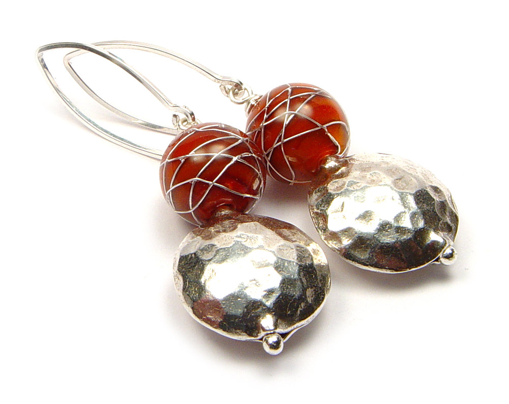 JillSymons.com Lampwork   Latigo ENCASED Silver WireEarrings - $55