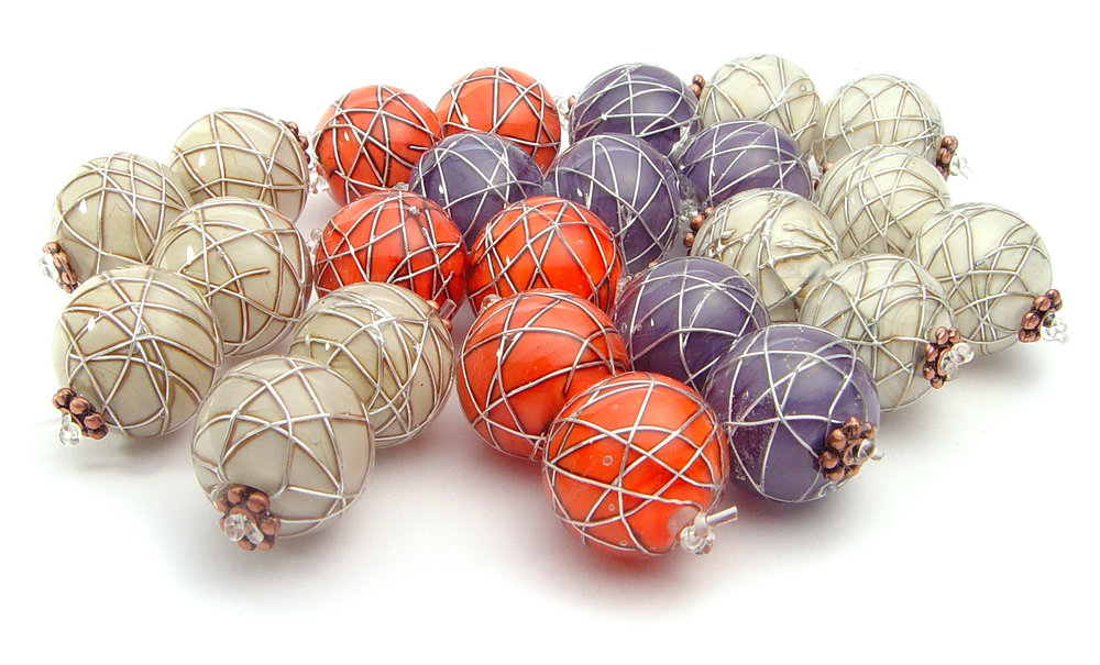 JillSymons.com Lampwork   Silver Bands Beads - $35pr