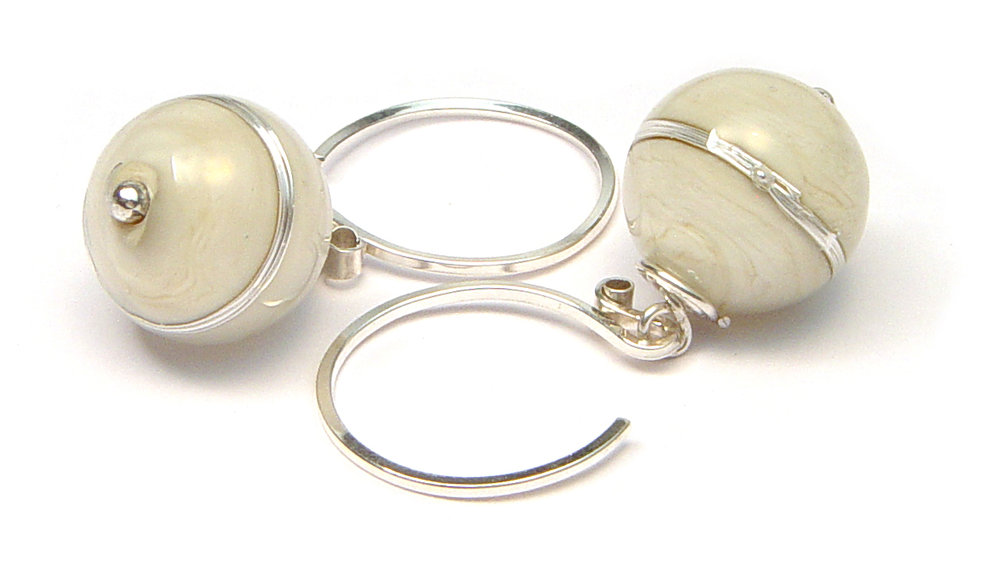 JillSymons.com Lampwork Silver Banded Parchment Earrings - $50