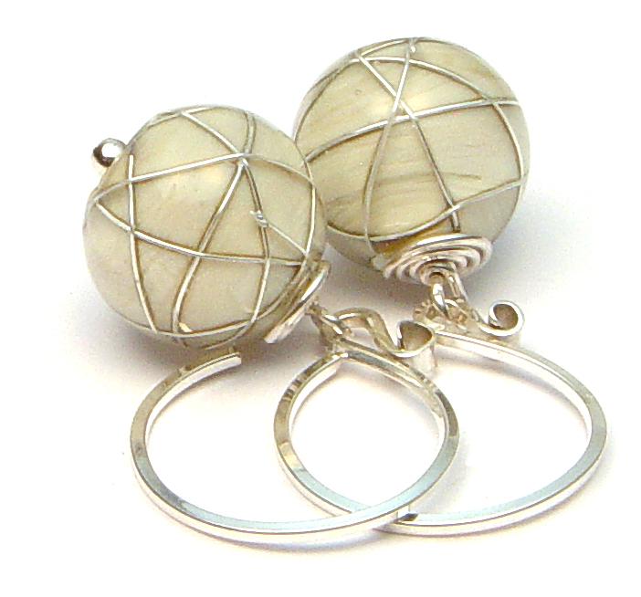 JillSymons.com Lampwork Parchment Wired Earrings - $50