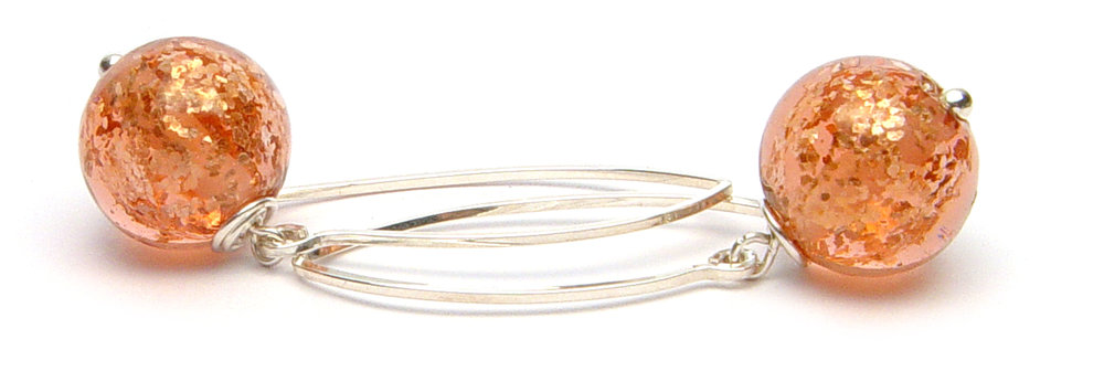 JillSymons.com Lampwork Apricot Glitterball Earrings - $50
