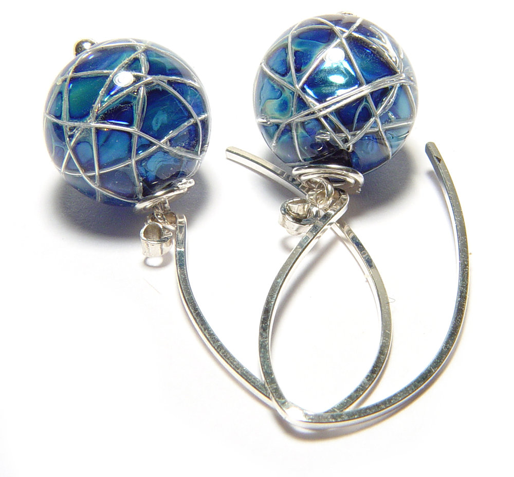 JIllSymons.com Lampwork Jetstream Earrings - $50