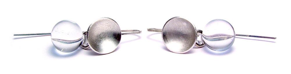 Silver Cup Droplet Earrings - $50