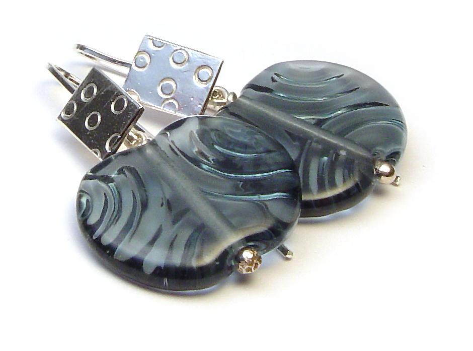Denim Angel Wing Earrings - $50