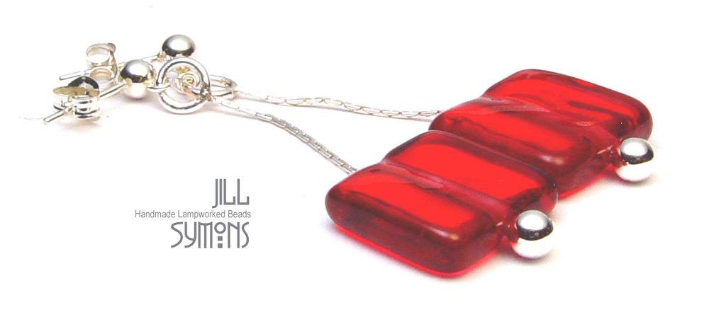 Cranberry Tile Earrings - $50