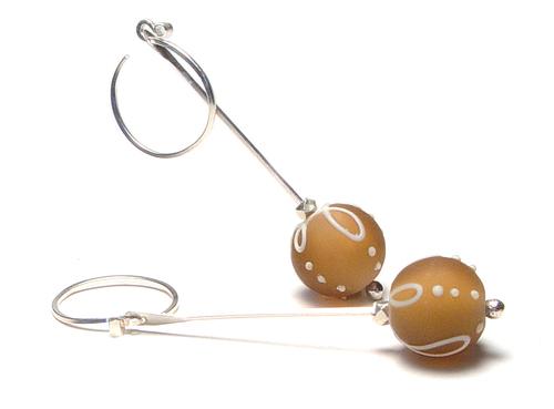 JillSymons.com Lampwork Bronze Party Banner Earrings - $50