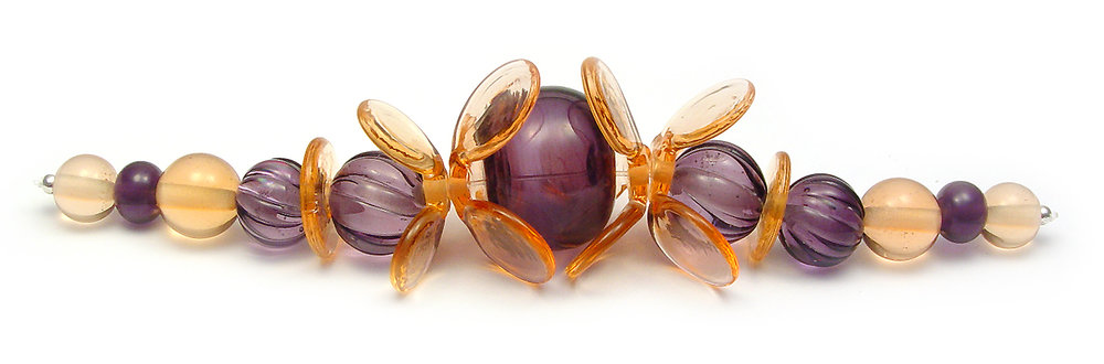 JillSymons.com Lampwork   Peach & Purple Butterfly Set - $110