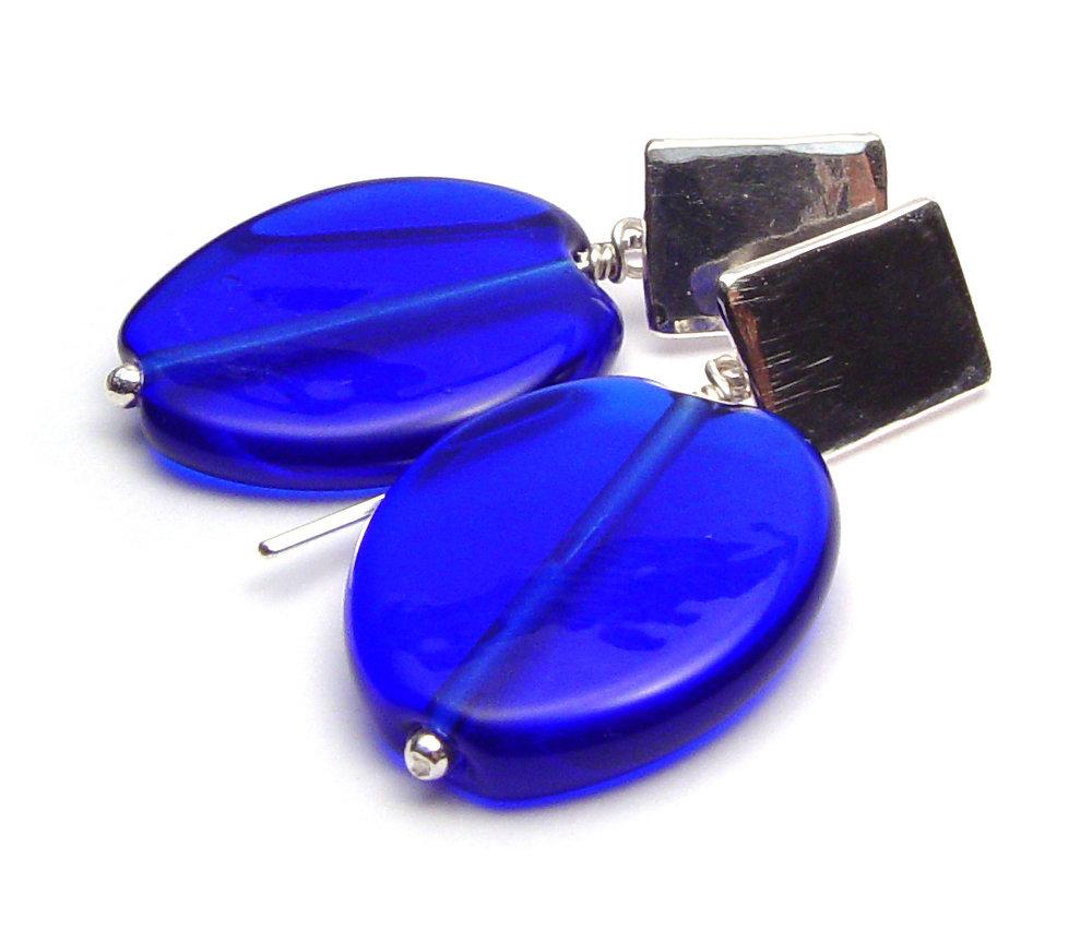 JillSymons.com Lampwork Cobalt Leaf Earrings - $55