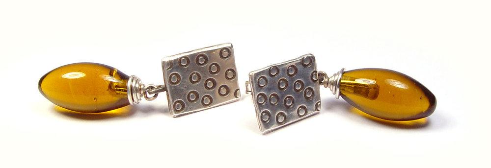 JillSymons.com Lampwork Honey Drop Earrings - $50