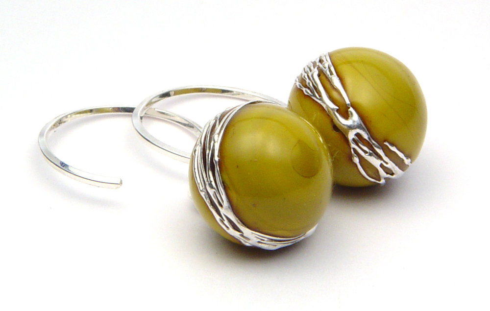 JillSymons.com Lampwork Fresh Pistachio Earrings - $50