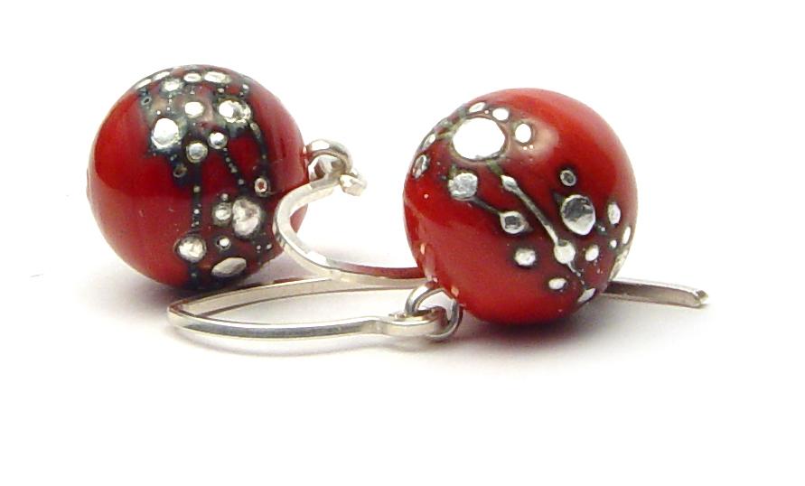 JillSympons.com Lampwork   Spanish Leather Nailhead Round Earrings - $50