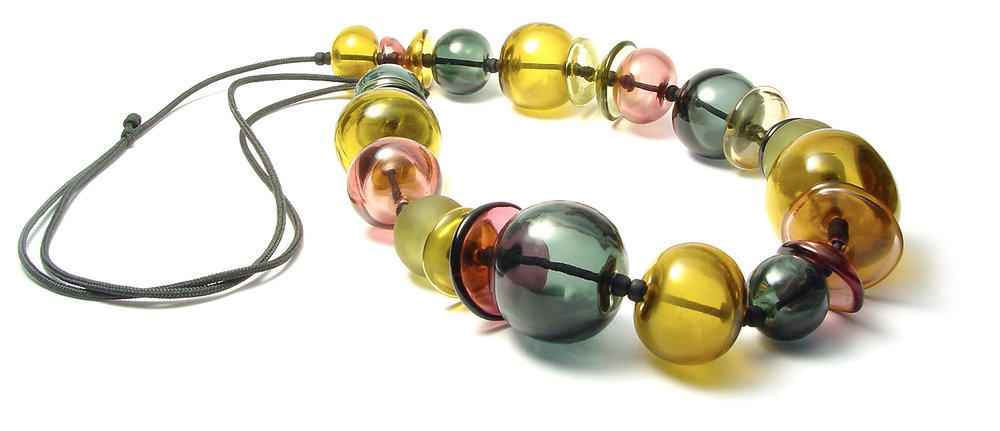 JIllSymons.com Lampwork On The Fly Cup and Disk Hollow Necklace - $180