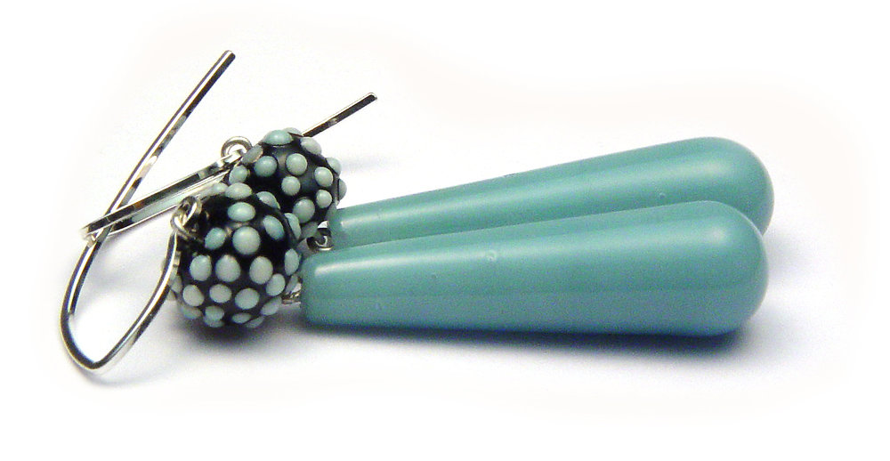Lt Blue Lg Drop Earrings - $50 JillSymons.com Lampwork